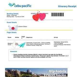 Manila-Davao, April 18, 2018 Cebu Pacific