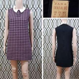 ZaraPeter Pan Collar Maroon Plaid Dress