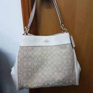 New! 50% off Coach White & Light Khaki Signature Shoulder Bag