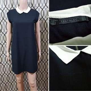 ZaraPeter Pan Collar Black Short Sleeved Dress