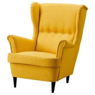 IKEA Wing Chair STRANDMON (Yellow & Green)