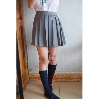 Cute pleated gray skirt Japanese Korean high school uniform anime cosplay college girl fashion