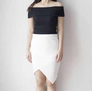 NEW white assymetrical skirt all size lp 66-74cm
