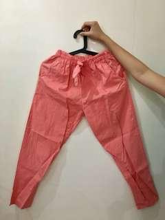Peach Linen Cropped Pants