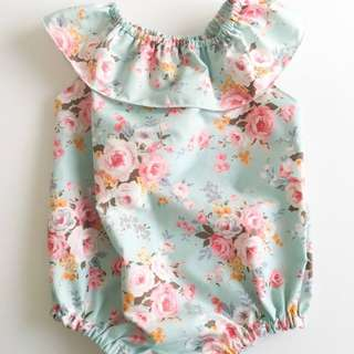 Floral Summer Playsuit (Ruffle Neck)6 - 12 months size