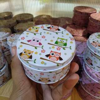 Small Storage Tin cans with Owl Designs