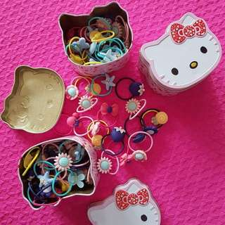40 pcs hair ties in Hello Kitty Can