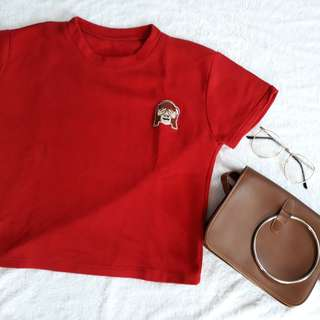 Monkey embroidered crop