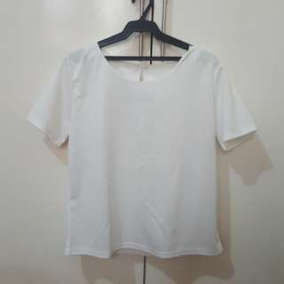 White boxy shirt with embossed print