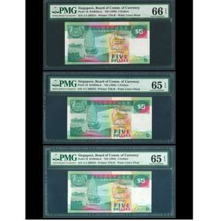 Singapore 1989 3x$5 with First Prefix A/1 Graded PMG65/66EPQ, Gem Uncirculated