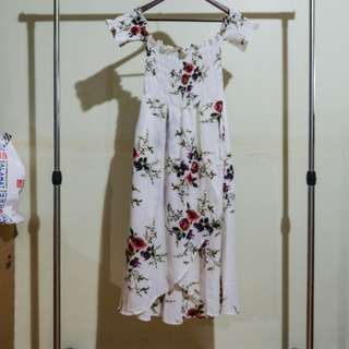 THAILAND BN Off Shoulder Slit Wrap Skirt White Floral Dress