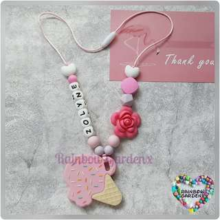 Customised Pink Ice Cream Teether with Beads Necklace