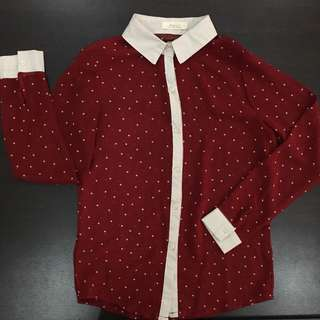 Red and Cream Polka Top