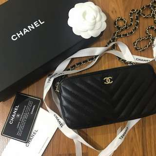 Brand New Chanel Wallet on Chain in Black Lambskin with GHW