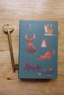 Cat design notebook with pen