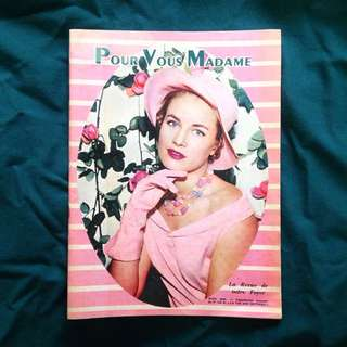 JUNE 1958 Pour Vous Madame French Vintage Fashion Magazine/ Summer Issue