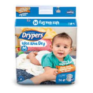 BRAND NEW FREE DELIVERY - Drypers Wee Wee Dry M 74s x 3 packs (6 - 11kg) 222pcs/box