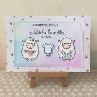 Handmade baby congrats card pastel boy or girl