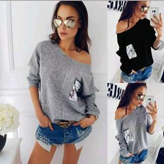 Jumper Sweater Off Shoulder Sequins Casual Loose Pullover Top
