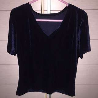 velvet top navy blue