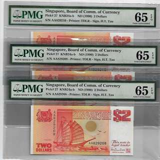 Singapore - BCCS ND(1990) 3 x $2 with First Prefix AA, Pick#27, graded PMG65EPQ, Gem Uncirculated