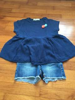 Zara babydoll T-shirt with denim shorts