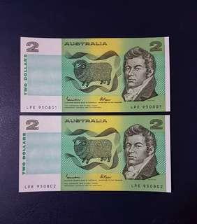🇦🇺 *UNC* 1985 Australia $2 Paper Banknote~2pcs Consecutive Pair