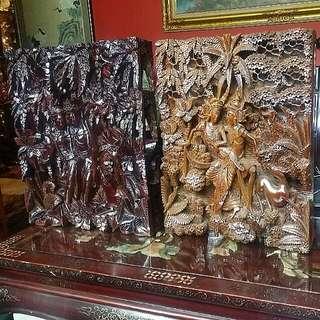 Bali 3d Wood Carving 2pcs Wood Panel Rama Sita