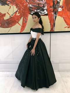 2 piece black ball gown for rent
