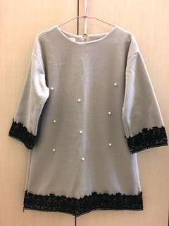 🚚 韓版珍珠長版上衣(灰)