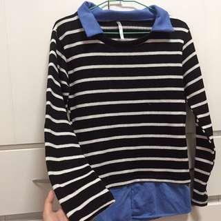 🚚 長袖假兩件襯衫條紋針織上衣