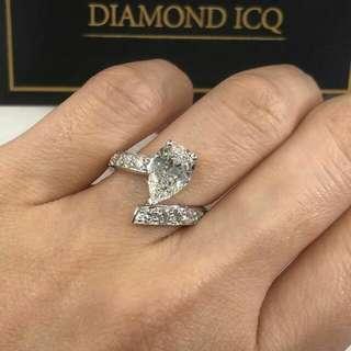 🌹 梨形鑽石帶點神秘 💋優雅高貴 D色=白🌸GiA證書1.00卡D色SI1 EX VG NON💖