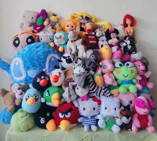 [BUNDLE] IMPORTED Stuffed toy collection!!! GET ALL (Stitch, Hello Kitty, Pooh, Minnie Mouse, Angry Birds, Spongebob, Domo Kun, Piglet, etc.)