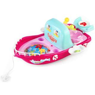 Role Play Toy Kitchen Fish Toys Game 2 in 1 Pull Along Boat Toy Go Fishing Game
