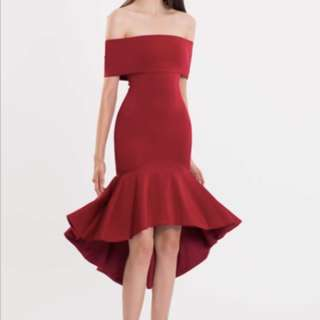 Doublewoot Red Off shoulder Fishtail Dress