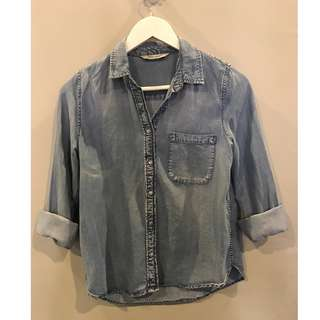 Mango distressed chambray button dowm