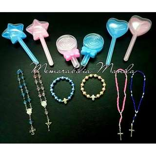 Pink or blue rosary container giveaway - souvenir for Baptism, etc