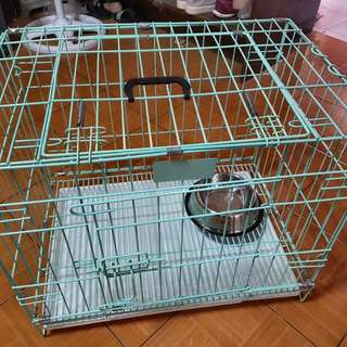 Dog/Cat Cage + Bag Carrier + Silver Dish