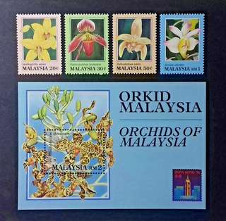 MALAYSIA 1994 ORCHIDS OF MALAYSIA SG 527 - 530 + MS M531