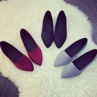 ⚜韓版淺口百搭纖腿舒適尖頭平底鞋