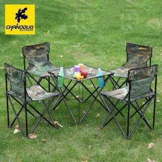 Outdoor portable camping folding tables and chairs