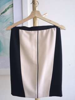 Ann Taylor color block pink and black pencil skirt size 0