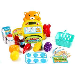 Cutie Teddy Bear Cash Register with shopping cart play set with sound