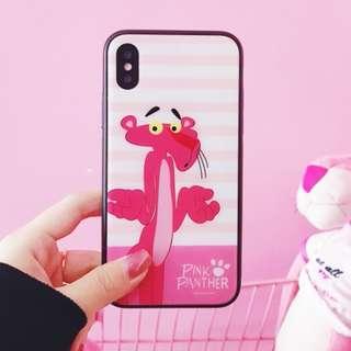 手機殼IPhone6/7/8/plus/X : 粉色傻豹全包黑邊玻璃背板殼