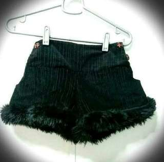 Black Shorts With Fur