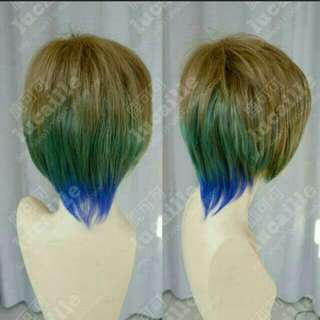 3 Tone Gradient Peacock Color Short Wig