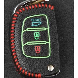 Hyundai Type F Car Key Leather Pouch w/glow