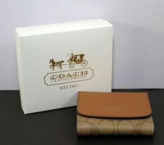 Coach Tri-Fold PVC Signature Leather Small Wallet-KHAKI/SADDLE