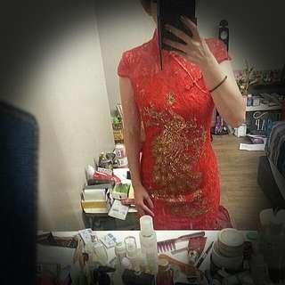Gold Phoenix Red Cheongsam (New!)