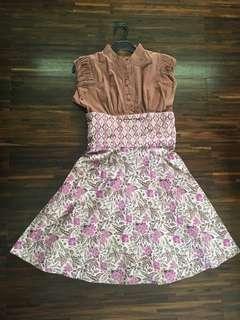 Dress Batik Brown-Purple S